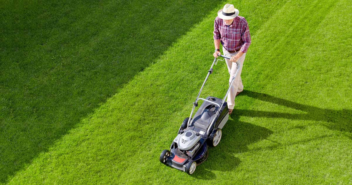 mowing lush green grass